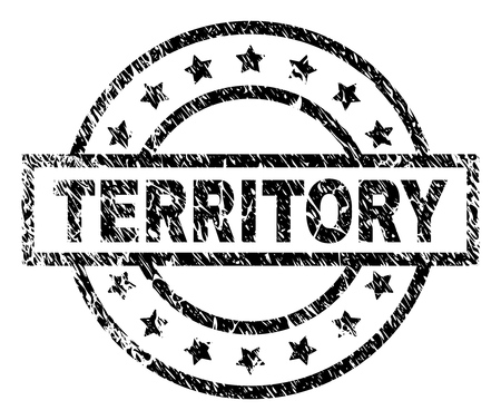 TERRITORY stamp seal watermark with distress style. Designed with rectangle, circles and stars. Black vector rubber print of TERRITORY title with scratched texture.