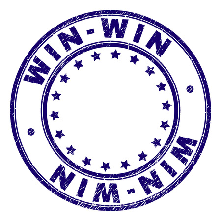 WIN-WIN stamp seal imprint with grunge texture. Designed with round shapes and stars. Blue vector rubber print of WIN-WIN title with scratched texture.