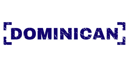 DOMINICAN tag seal stamp with grunge texture. Text tag is placed inside corners. Blue vector rubber print of DOMINICAN with dust texture. Ilustração