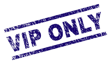 VIP ONLY seal print with scratced style. Blue vector rubber print of VIP ONLY label with dirty texture. Text label is placed between parallel lines.