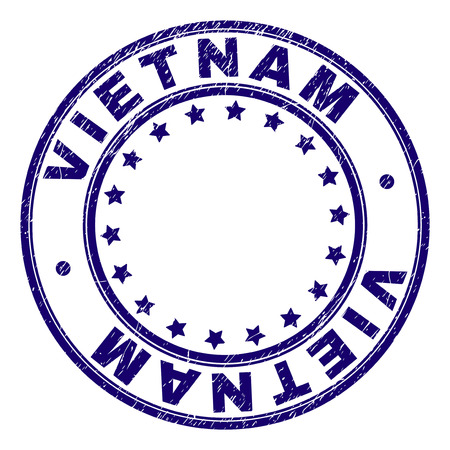 VIETNAM stamp seal watermark with grunge texture. Designed with round shapes and stars. Blue vector rubber print of VIETNAM label with grunge texture. Иллюстрация
