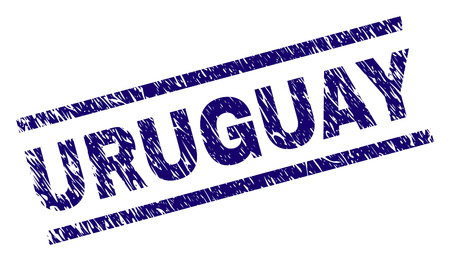 URUGUAY seal imprint with grunge style. Blue vector rubber print of URUGUAY tag with grunge texture. Text tag is placed between parallel lines. Иллюстрация