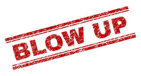 BLOW UP seal print with distress texture. Red vector rubber print of BLOW UP text with grunge texture. Text label is placed between double parallel lines.