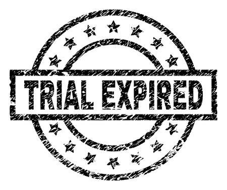 TRIAL EXPIRED stamp seal watermark with distress style. Designed with rectangle, circles and stars. Black vector rubber print of TRIAL EXPIRED caption with unclean texture.