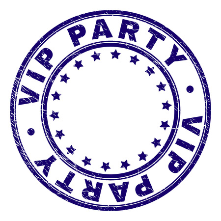 VIP PARTY stamp seal imprint with grunge texture. Designed with circles and stars. Blue vector rubber print of VIP PARTY title with unclean texture.