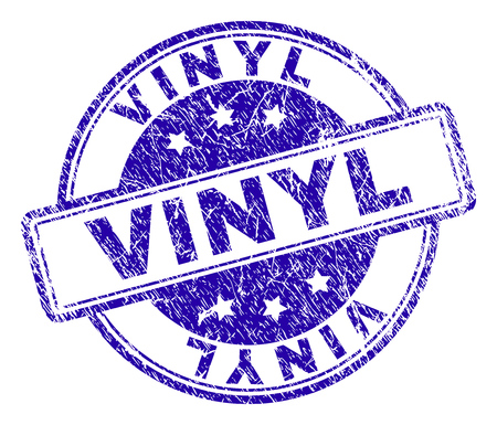 VINYL stamp seal watermark with grunge texture. Designed with rounded rectangles and circles. Blue vector rubber print of VINYL caption with unclean texture.