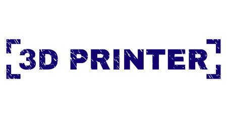 3D PRINTER title seal print with grunge texture. Text label is placed between corners. Blue vector rubber print of 3D PRINTER with grunge texture. Illustration