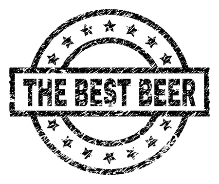 THE BEST BEER stamp seal watermark with distress style. Designed with rectangle, circles and stars. Black vector rubber print of THE BEST BEER label with scratched texture. Illustration