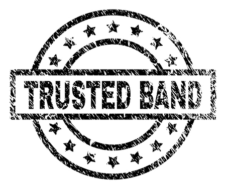 TRUSTED BAND stamp seal watermark with distress style. Designed with rectangle, circles and stars. Black vector rubber print of TRUSTED BAND title with dirty texture.