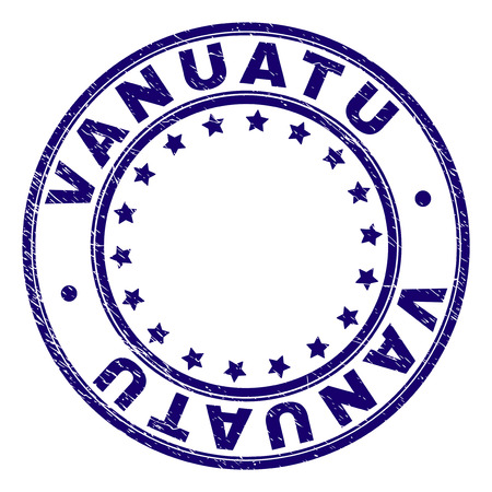 VANUATU stamp seal watermark with grunge texture. Designed with circles and stars. Blue vector rubber print of VANUATU caption with grunge texture.