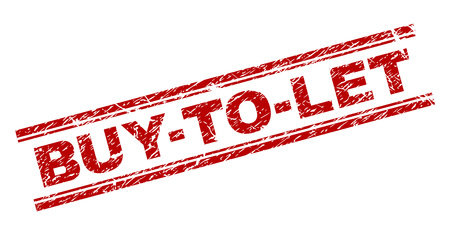 BUY-TO-LET seal print with distress effect. Red vector rubber print of BUY-TO-LET text with corroded texture. Text label is placed between double parallel lines. Ilustración de vector