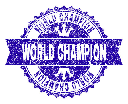 WORLD CHAMPION rosette stamp seal watermark with grunge texture. Designed with round rosette, ribbon and small crowns. Blue vector rubber watermark of WORLD CHAMPION title with scratched texture. Illustration