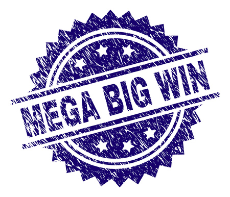 MEGA BIG WIN stamp seal watermark with distress style. Blue vector rubber print of MEGA BIG WIN tag with dust texture. Çizim