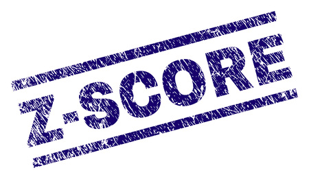 Z-SCORE seal print with distress style. Blue vector rubber print of Z-SCORE text with grunge texture. Text title is placed between parallel lines.