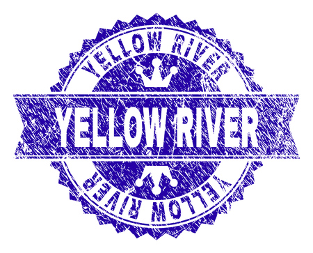 YELLOW RIVER rosette stamp watermark with grunge style. Designed with round rosette, ribbon and small crowns. Blue vector rubber watermark of YELLOW RIVER title with dust style. Foto de archivo - 126805850