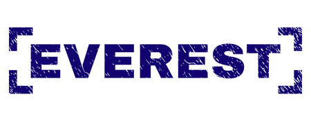 EVEREST text seal stamp with corroded texture. Text tag is placed inside corners. Blue vector rubber print of EVEREST with grunge texture. Illustration
