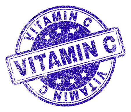 VITAMIN C stamp seal watermark with grunge texture. Designed with rounded rectangles and circles. Blue vector rubber print of VITAMIN C title with grunge texture.