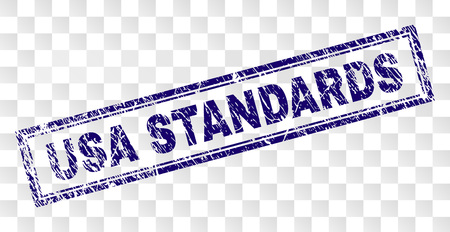 USA STANDARDS stamp seal print with rubber print style and double framed rectangle shape. Stamp is placed on a transparent background.