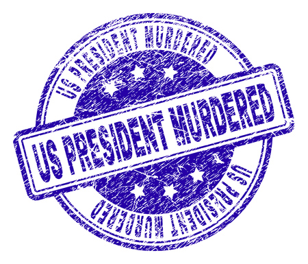 US PRESIDENT MURDERED stamp seal imprint with grunge texture. Designed with rounded rectangles and circles. Blue vector rubber print of US PRESIDENT MURDERED label with dirty texture.