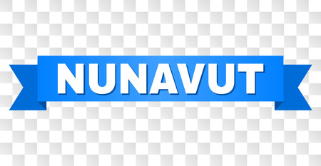 NUNAVUT text on a ribbon. Designed with white caption and blue stripe. Vector banner with NUNAVUT tag on a transparent background.