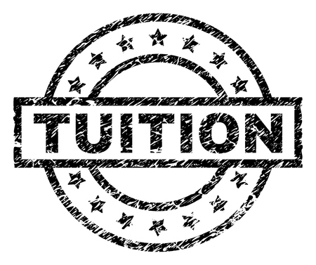 TUITION stamp seal watermark with distress style. Designed with rectangle, circles and stars. Black vector rubber print of TUITION text with unclean texture.