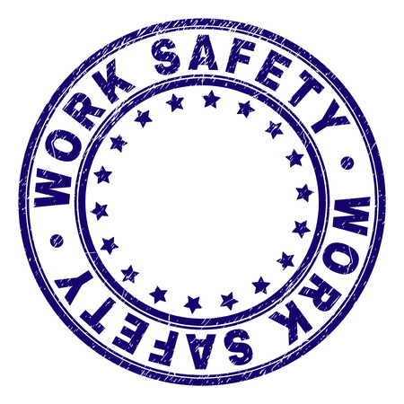 WORK SAFETY stamp seal imprint with grunge texture. Designed with round shapes and stars. Blue vector rubber print of WORK SAFETY tag with grunge texture.