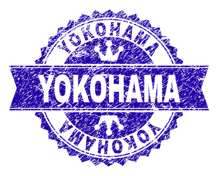 YOKOHAMA rosette stamp overlay with grunge texture. Designed with round rosette, ribbon and small crowns. Blue vector rubber print of YOKOHAMA caption with dirty texture. Illustration