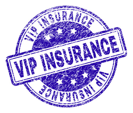 VIP INSURANCE stamp seal imprint with grunge texture. Designed with rounded rectangles and circles. Blue vector rubber print of VIP INSURANCE text with grunge texture. Çizim