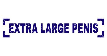 Sello de texto de PENE EXTRA GRANDE impreso con textura grunge. La etiqueta de texto se coloca entre las esquinas. Impresión de goma de vector azul de PENE EXTRA GRANDE con textura rayada.