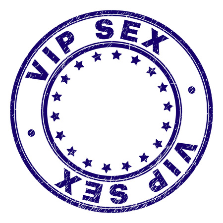 VIP SEX stamp seal imprint with grunge texture. Designed with circles and stars. Blue vector rubber print of VIP SEX text with grunge texture.