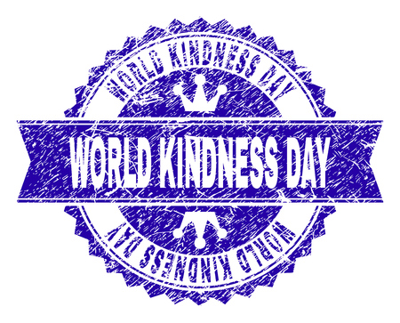 WORLD KINDNESS DAY rosette stamp watermark with grunge texture. Designed with round rosette, ribbon and small crowns. Blue vector rubber watermark of WORLD KINDNESS DAY title with grunge style. Illustration