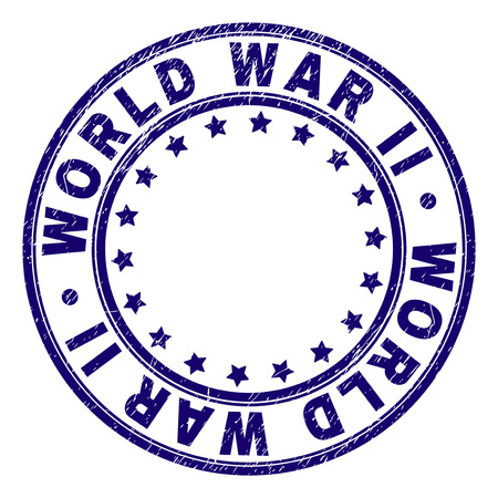 WORLD WAR II stamp seal watermark with grunge texture. Designed with round shapes and stars. Blue vector rubber print of WORLD WAR II title with dirty texture.