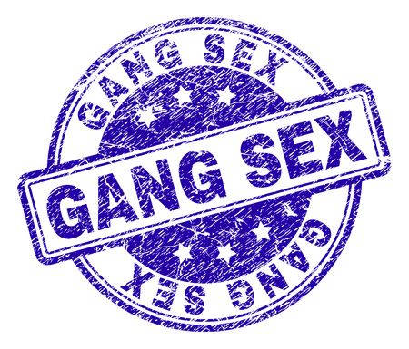 GANG SEX stamp seal watermark with grunge texture. Designed with rounded rectangles and circles. Blue vector rubber print of GANG SEX tag with scratched texture.
