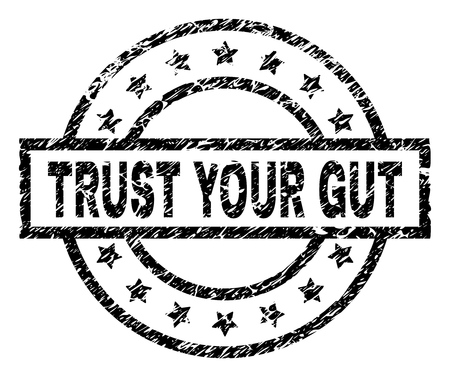 TRUST YOUR GUT stamp seal watermark with distress style. Designed with rectangle, circles and stars. Black vector rubber print of TRUST YOUR GUT caption with corroded texture.