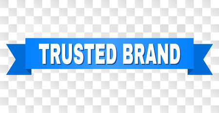 TRUSTED BRAND text on a ribbon. Designed with white caption and blue stripe. Vector banner with TRUSTED BRAND tag on a transparent background.