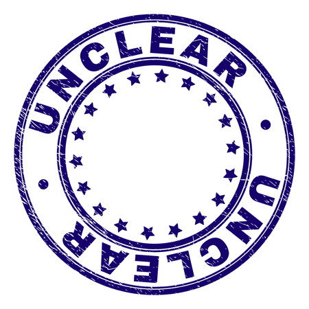 UNCLEAR stamp seal watermark with distress texture. Designed with round shapes and stars. Blue vector rubber print of UNCLEAR text with scratched texture.