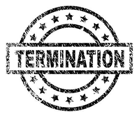 TERMINATION stamp seal watermark with distress style. Designed with rectangle, circles and stars. Black vector rubber print of TERMINATION text with grunge texture.