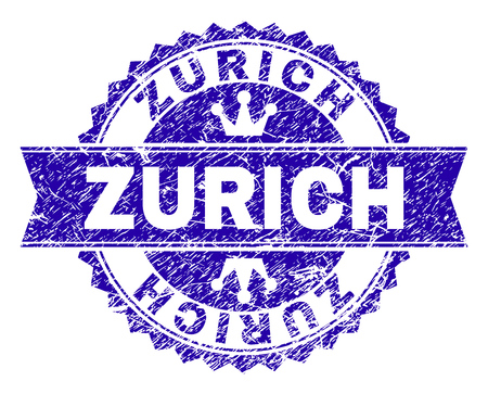 ZURICH rosette stamp watermark with distress style. Designed with round rosette, ribbon and small crowns. Blue vector rubber watermark of ZURICH caption with retro style.