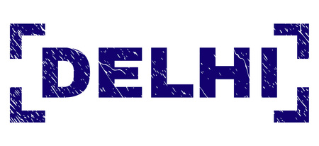 DELHI caption seal print with corroded style. Text caption is placed between corners. Blue vector rubber print of DELHI with dust texture. 일러스트