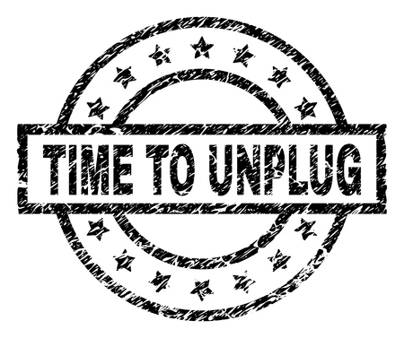 TIME TO UNPLUG stamp seal watermark with distress style. Designed with rectangle, circles and stars. Black vector rubber print of TIME TO UNPLUG tag with corroded texture. Illustration