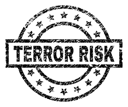 TERROR RISK stamp seal watermark with distress style. Designed with rectangle, circles and stars. Black vector rubber print of TERROR RISK caption with dirty texture.