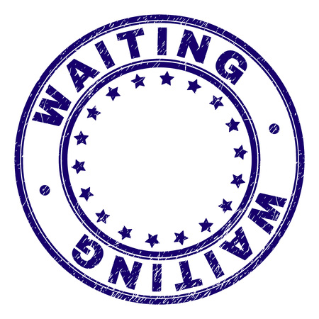 WAITING stamp seal imprint with distress texture. Designed with circles and stars. Blue vector rubber print of WAITING caption with grunge texture.