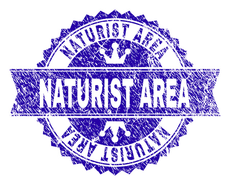 NATURIST AREA rosette stamp overlay with distress texture. Designed with round rosette, ribbon and small crowns. Blue vector rubber print of NATURIST AREA text with grunge texture.