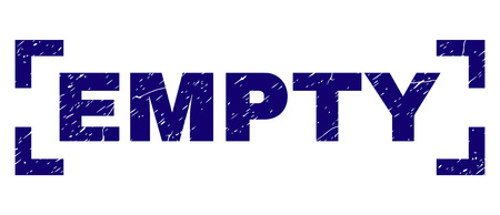 EMPTY title seal watermark with corroded texture. Text caption is placed inside corners. Blue vector rubber print of EMPTY with corroded texture.