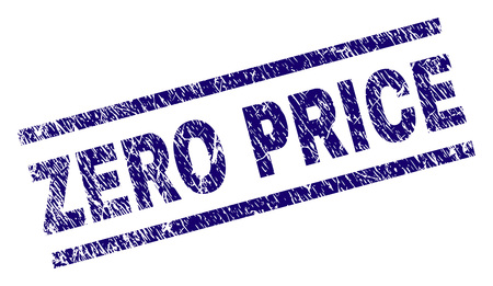 ZERO PRICE seal print with distress style. Blue vector rubber print of ZERO PRICE caption with scratched texture. Text caption is placed between parallel lines.