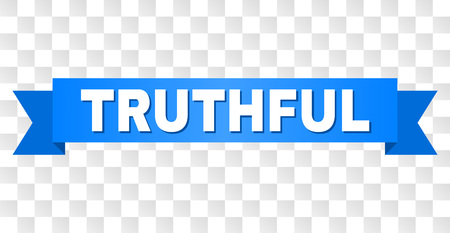 TRUTHFUL text on a ribbon. Designed with white title and blue tape. Vector banner with TRUTHFUL tag on a transparent background.