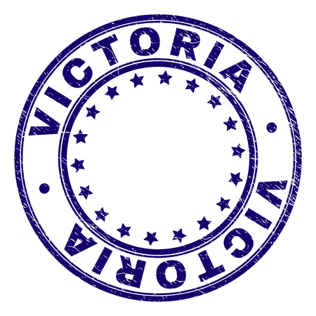 VICTORIA stamp seal watermark with grunge effect. Designed with round shapes and stars. Blue vector rubber print of VICTORIA tag with grunge texture.  イラスト・ベクター素材