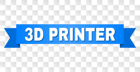 3D PRINTER text on a ribbon. Designed with white caption and blue tape. Vector banner with 3D PRINTER tag on a transparent background.