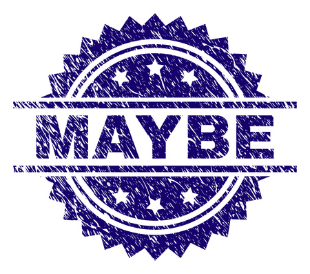 MAYBE stamp seal watermark with distress style. Blue vector rubber print of MAYBE text with scratched texture.