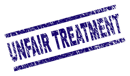 UNFAIR TREATMENT seal watermark with distress style. Blue vector rubber print of UNFAIR TREATMENT text with retro texture. Text title is placed between parallel lines.